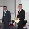 Stefan Brenner und Prof. Dr. Frank O. Bayer begrüßten die ca. 60 Teilnehmer im Auditorium der DHBW Lörrach